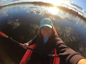 Monique kayaking on Cattail Pond